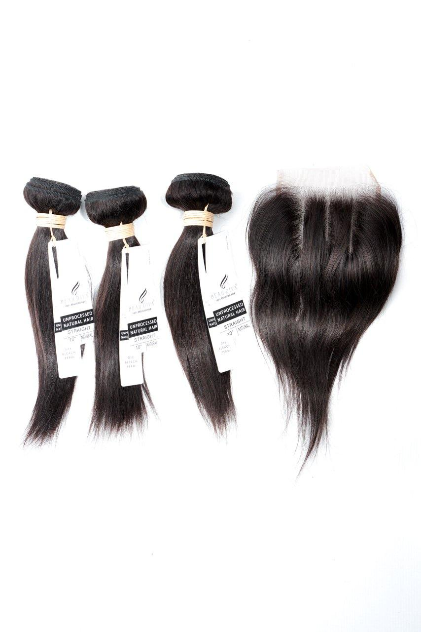 "stylediva-dev - 10"" Brazilian 9A Bundles X 3 & 8"" Closure Combo - Kits - KITS"