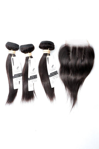 "16"" Indian 9A Bundles x 3 & 12"" Closure Combo"