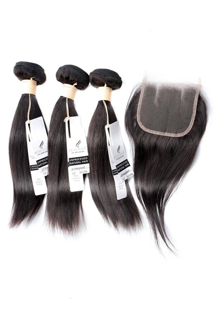 "12"" Brazilian 9A Bundles X 3 & 10"" Closure Combo"