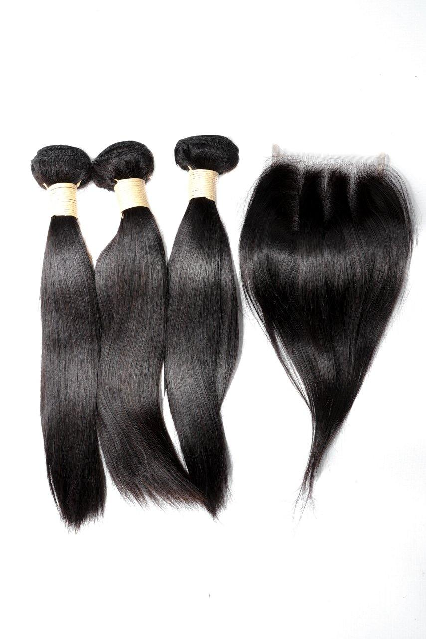 "14"" Brazilian 9A Bundles X 3 & 10"" Closure Combo"