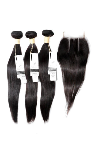 "16"" INDIAN BUNDLES X 3 & 12"" CLOSURE & AFTERCARE COMBO"