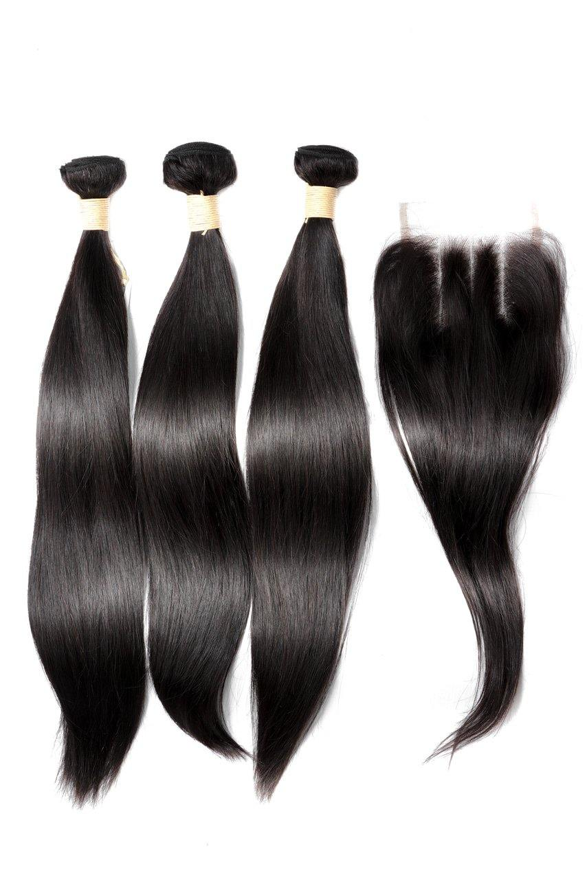 "20"" Brazilian 9A Bundles X 3 & 14"" Closure Combo"