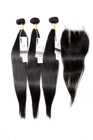 "20"" Peruvian 9A Bundles x 3 & 14"" Closure & Aftercare Combo"