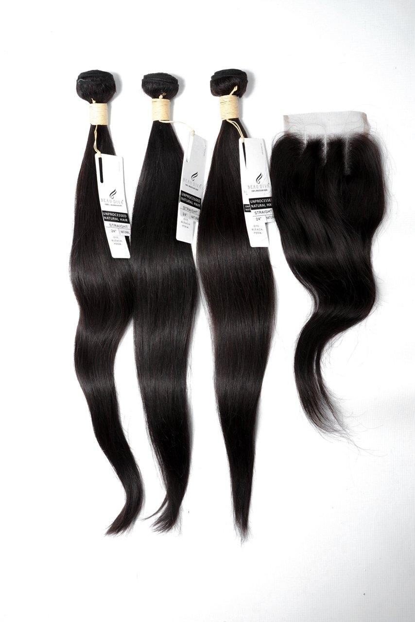 "stylediva-dev - 24"" Brazilian 9A Bundles X 3 & 14"" Closure Combo - Kits - KITS"