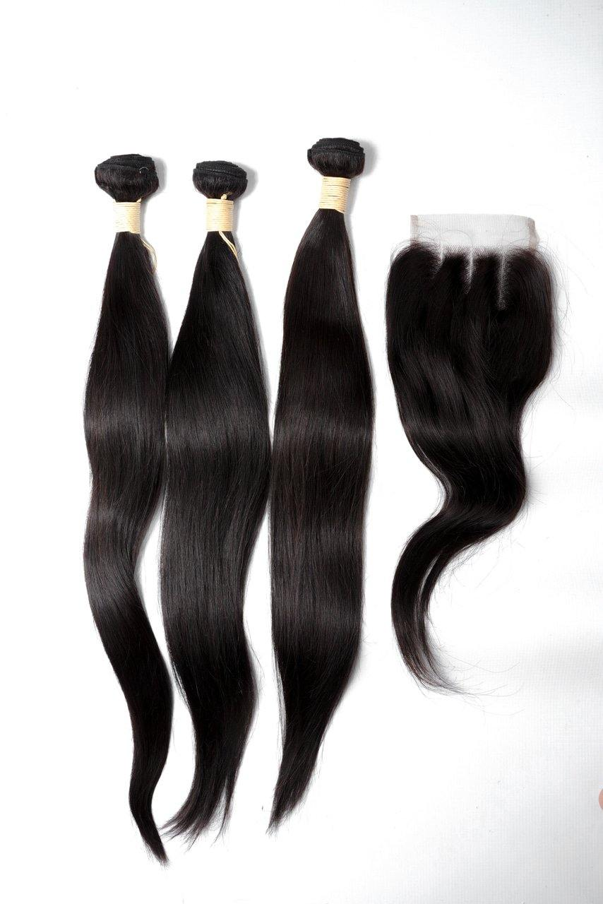 "24"" Brazilian 9A Bundles X 3 & 14"" Closure Combo"