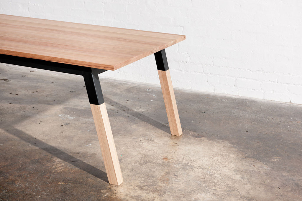 rectangular industrial dining table