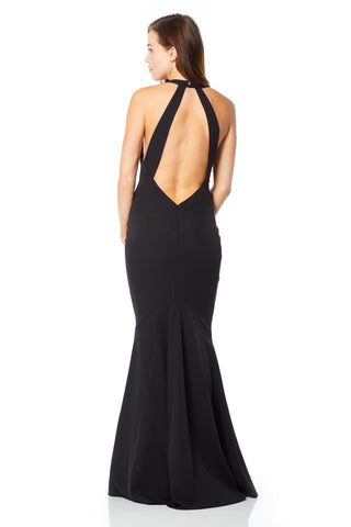 Carmelita High Neck Maxi Dress with Open Back