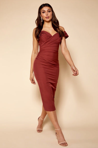 Skye Ruched Midi Dress with One Shoulder Sleeve