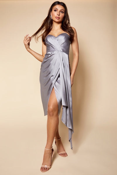 Grace Strapless Midi Dress with Front Drape Detail