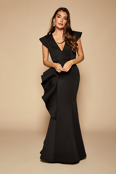 Avery Ruffle Frill V Neck Scuba Maxi Dress