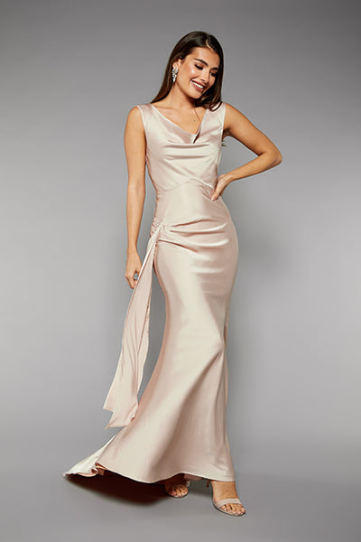 Gabriella Cowl Neck Fishtail Gown with Open Back