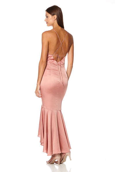 Diamond Cami Strap Slinky High Low Midi Dress