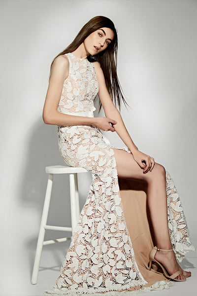 Petal All Over Cutwork Lace Maxi Dress With Bow Detail Waist