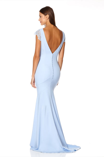 Juliette Fishtail Maxi Dress with Lace Cap Sleeves and Button Back