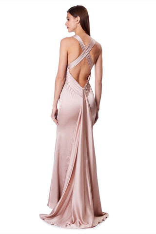 89fb0270f2a43 Sasha High Neck Maxi Dress With Fishtail Train
