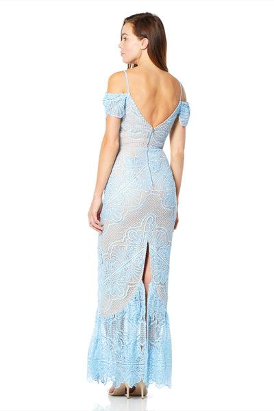 Naya Cold Shoulder Maxi Dress with Deep Kick Split