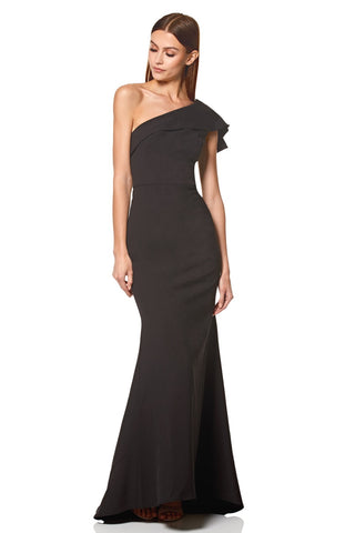 Levine Ruffle Frill One Shoulder Maxi Dress
