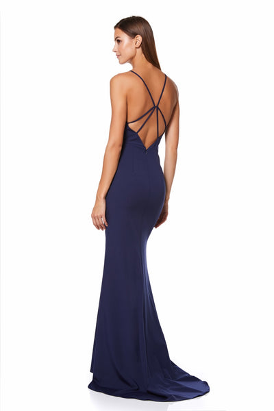 Lyssa High Neck Fishtail Maxi Dress with Strappy Back Detail