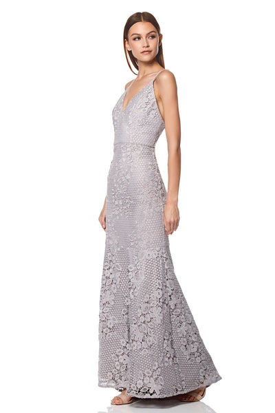 Nelly V Neck Lace Maxi Dress with Fishtail Train