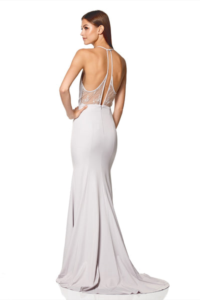 Carlin High Neck Fishtail Dress with Open Back Detail