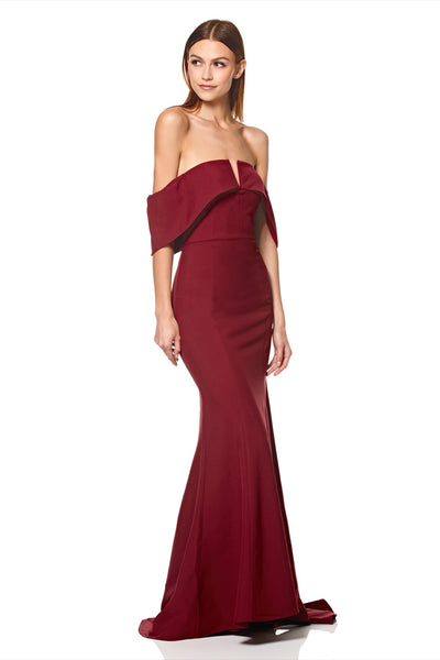 Harlow V-Neck Off Shoulder Maxi Dress with Fishtail Train