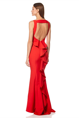 Yulia High Neck Maxi Dress with Exaggerated Back Ruffle