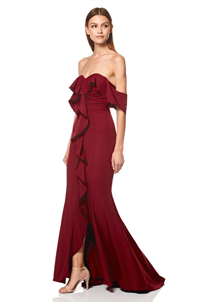 1cef4b763a45 Persia Off Shoulder Ruffle Maxi Dress with Thigh Split – Jarlo London