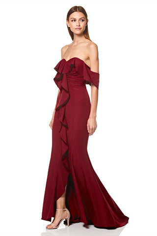 Persia Off Shoulder Ruffle Maxi Dress with Thigh Split