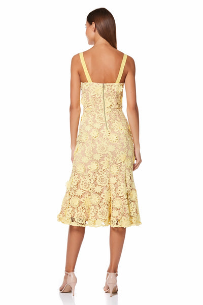Daisy All Over 3D Lace Midi Dress with Shoulder Straps
