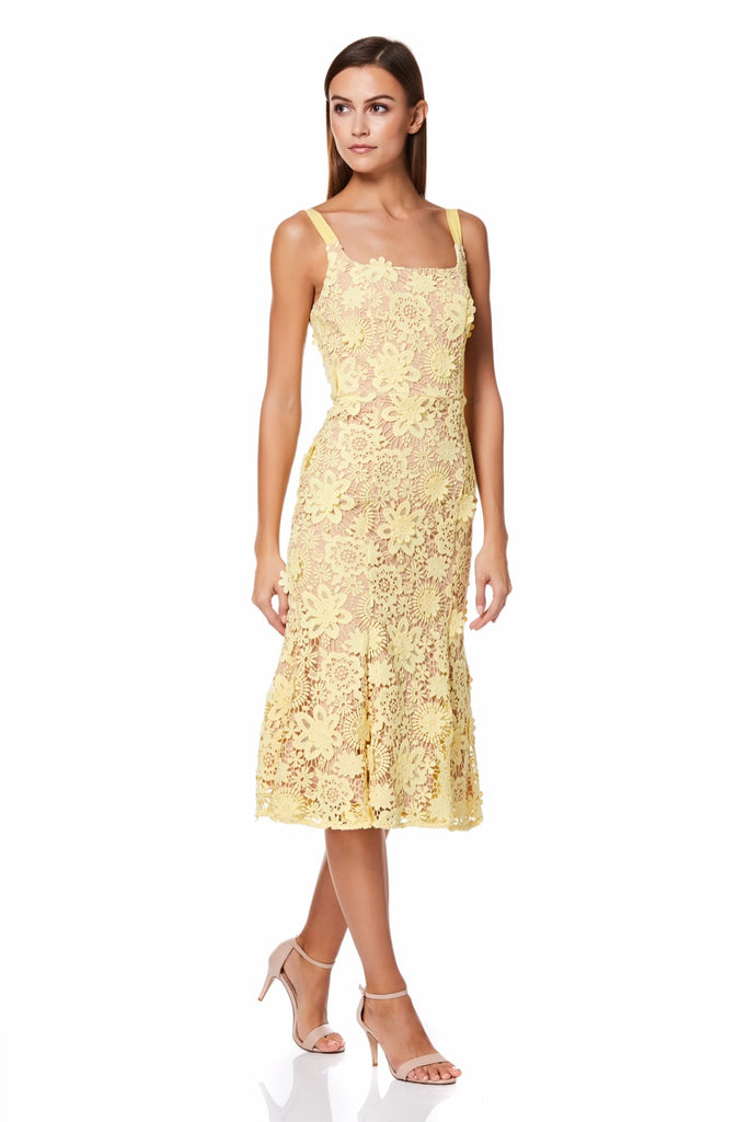 8ee34977de5 Daisy All Over 3D Lace Midi Dress with Shoulder Straps – Jarlo London