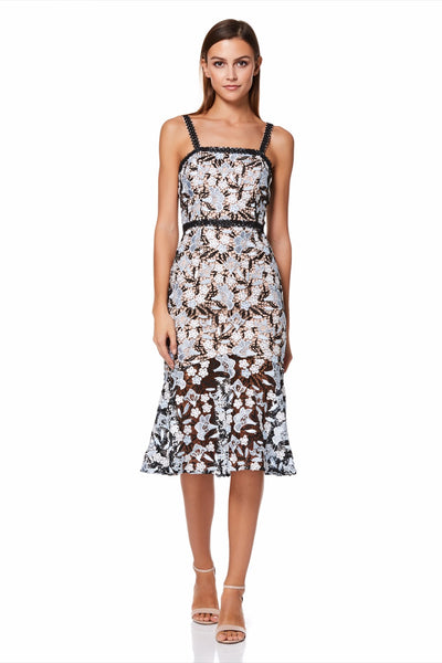 Bette All Over Lace Midi Dress with Shoulder Straps