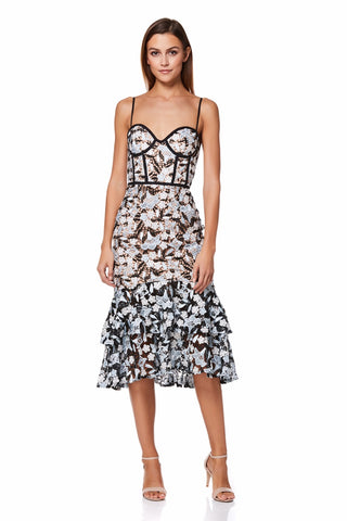 f2e304eb7b0e Jojo All Over Lace Midi Dress with Ruffle Hem
