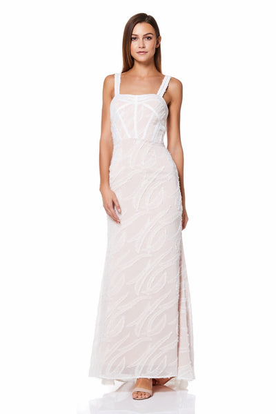 Holiday Feather Devore Maxi Dress