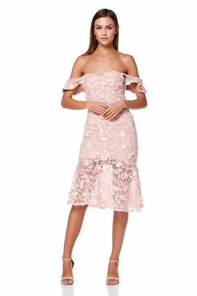 Tootsie Bardot All Over Embroidered Lace Midi Dress