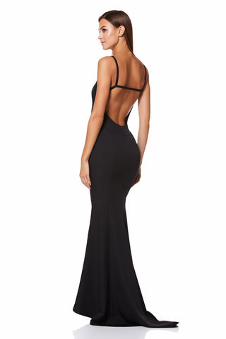Cy Round Neck Maxi Dress with Open Back