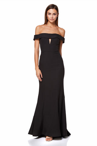 Aja Bardot Maxi Dress With Fishtail Train