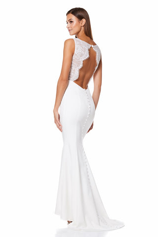 a9deafb57026 Cecelia Fishtail Maxi Dress with Lace Button Back Detail