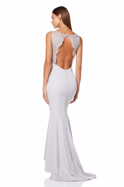Cecelia Fishtail Maxi Dress with Lace Button Back Detail