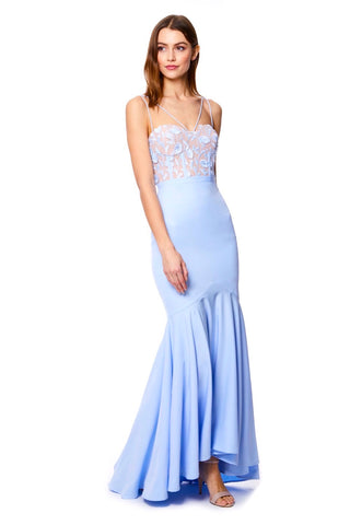 Jackie Fishtail Maxi Dress with 3D Lace Top