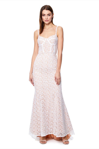 72337cc5158 Polly All Over Lace Maxi Dress with a Basque Top