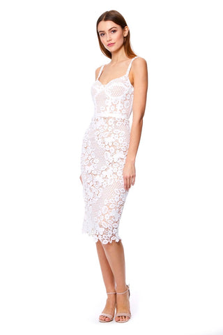 abe1f2197 Isabella All Over Lace Midi Dress with Basque Top