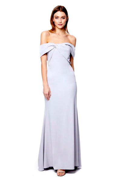 Briella Front Knot Bardot Maxi Dress With Train