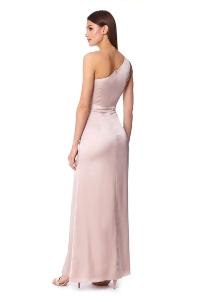 Rose One Shoulder Maxi Dress with Front Knot Detail