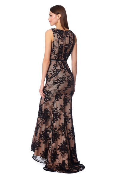 Kylie Sleeveless Lace Maxi Dress With Velvet Panels