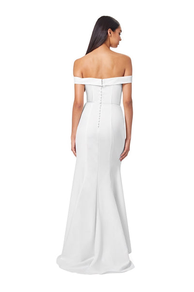 Bluebell Bardot Maxi Dress With Thigh Split And Button Back