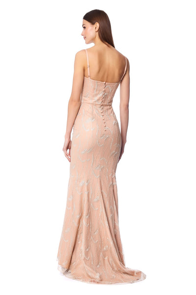 Gravity Embroidered Fishtail Maxi Dress with Button Back