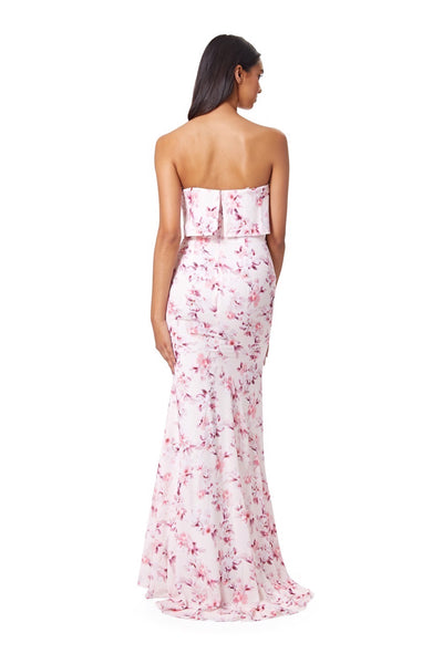 Andressa Strapless Print Maxi Dress With Overlay and Thigh Slit