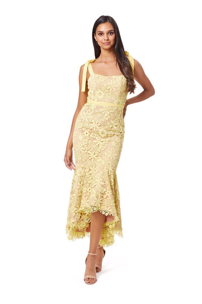 Adelaide All Over Lace Midi Dress with Tie Shoulder Straps