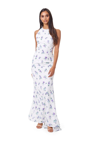 Jonquil High Neck Print Maxi Dress With Fishtail Train