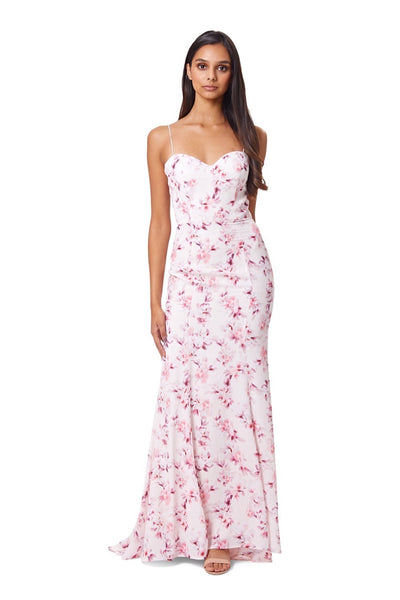 Diablo Fishtail Maxi Dress in Pink Floral Print